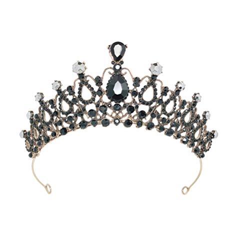 PIXNOR Corona de Boda de Cristal de Diamante de Imitacin de La Reina Tiara Princesa Disfraz Tocado de Boda Vestido de Novia Accesorios para El Cabello de Fiesta Diademas de Graduacin