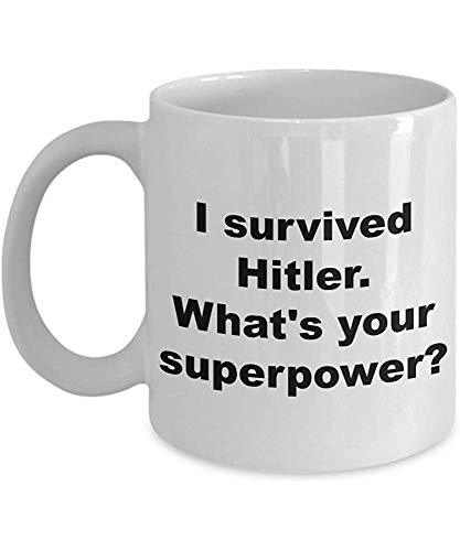 Lustiges Hitler-Becher-Geschenk überlebte ich keramischen Tee-Kakao-Kaffeetasse-Gag-Witz für Mann-Frauen 11 Unze