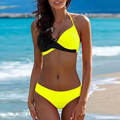 ZZLHHD Nachtwäsche Sexy Dessous Body,So-Farbiger sexy Bikini, farblich passender Split-Badeanzug-Huang - Black_XXL,Reizwäsche Sexy Offener Schritt
