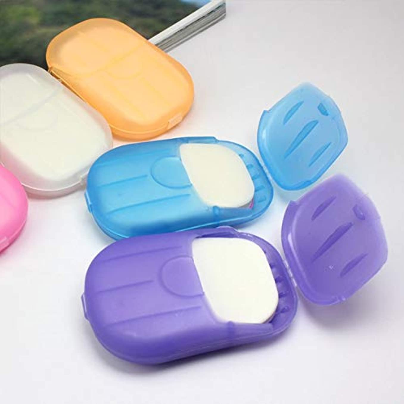 滑るスライムほとんどない20 Pcs Paper Soap Outdoor Travel Bath Soap Tablets Portable Hand-washing