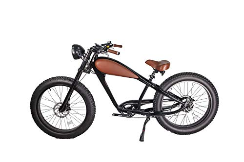 48V 750W Bafang Vintage Electric Bike Fat Tire Cheetah Beach Cruiser Electric Bike (Black/BROWNLEATHER 17.5Ah Full Bundle $100 Off)