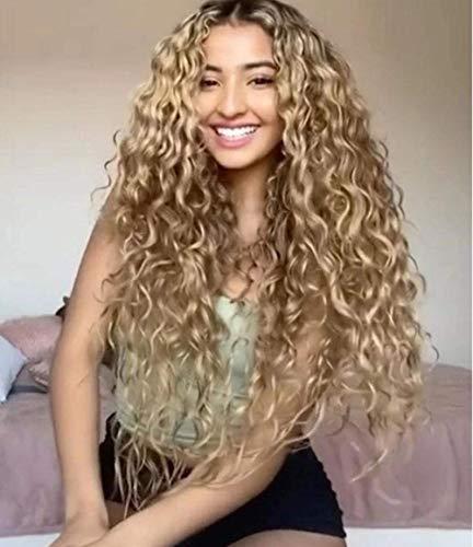 Perruque de Charme Naturelle Longue Ligne Droite Perruques, pour Les Femmes Blonde Longue Fibre Naturelle Perruque synthétique Perruques Quotidiennes, Cosplay Halloween Robe Perruques de fête