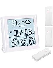 Brifit屋内屋外温度計 湿度計 ワイヤレス温度計 3ワイヤレスセンサー付き LCDバックライト 天気予報 低電力インジケーター オフィス 家庭用