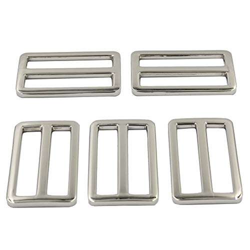 DGOL 10pcs 1-1/2 inch Slider Webbing Strap Tri Glide Buckles Zinc Alloy Tri-Glide Slide Buttons Fasteners (Silver)