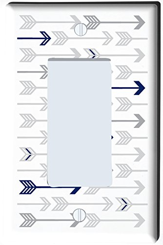 Presto Wall Decals Grey and Navy Arrow Print Light Switch Plate and Outlet Covers/Grey Woodland Nursery Decor for Baby Boys or Girls (Single Rocker Cover)