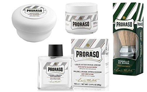 Professional Rasierpinsel von Proraso + 1 Stk. Pre Shave Creme Tiegel für sensitive Haut von Proraso + 1 Stk. Rasierseife im Tiegel für sensitive Haut + 1Stk. After Shave Balsam für sensitive Haut.