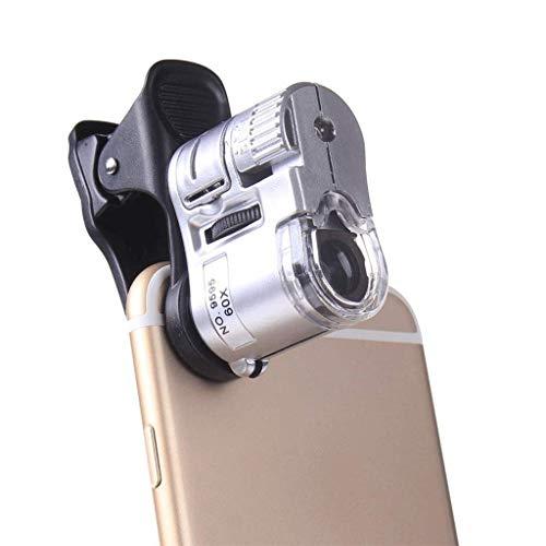 LHQ-HQ Vidrio con luz Pequeño Calibre 60 Veces Microscopio joyería de identificación Microscopio Microscopio Microscopio pequeños 2X 4X 25x Ligero portátil de Cristal