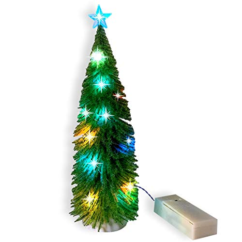 Green Tree Lighted - LED Lighted Pine Tabletop Tree - Holiday Village Accessory