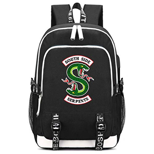 Memoryee School Backpack Riverdale Southside Serpents Printed Rucksack Laptop Bag Multi-Functional Daypack with USB Charging Port Black