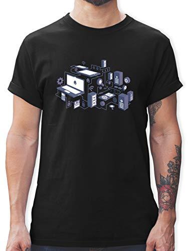 Nerds & Geeks - Netzwerk Design - XXL - Schwarz - Nerd t-Shirt - L190 - Tshirt Herren und Männer T-Shirts