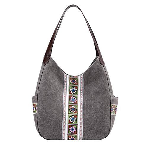 PB-SOAR Damen Mädchen Modern Canvas Shopper Schultertasche Handtasche Henkeltasche Hobo Bag Beuteltasche (Grau mit Aufdruck)