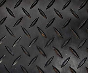 Revestimiento de Caucho Antideslizante| Suelo de Goma PVC Negro 1mm Diseño Estrias (140_x_300 CM)
