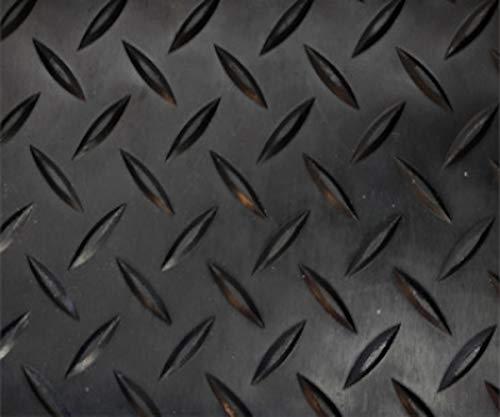 Revestimiento de Caucho Antideslizante| Suelo de Goma PVC Negro 1mm Diseño Estrias (140_x_700 CM)
