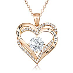 ❤ 925 STERLING SILVER ❤ The pendant and the chain are made of 925 sterling silver with high cost white gold or rose gold plating surface. These safe materials have low sensitivity and oxidation resistance. ❤ UNIQUE HEART-SHAPE DESIGN ❤ The pendant ad...