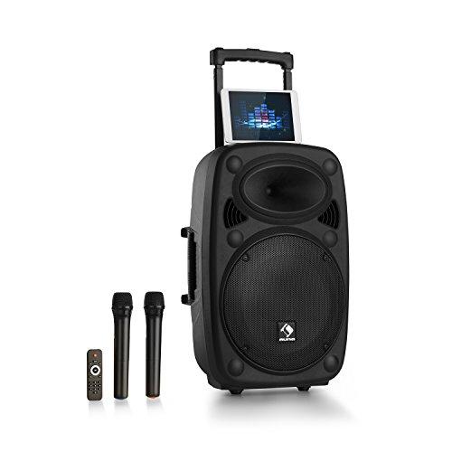 auna Streetstar 2.0 - Equipo PA portátil, Altavoz DJ, Bluetooth, Puerto USB, SD, MP3, AUX, Batería 3 Ah, LED, 2 micrófonos UHF, Mando a Distancia, Subwoofer 12