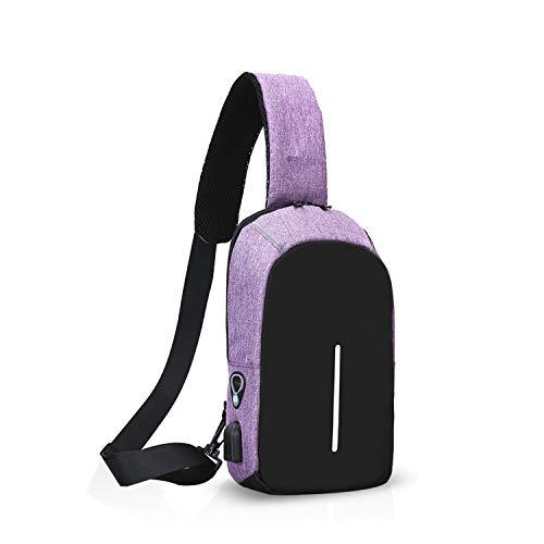 FANDARE Moda Zaino Monospalla Borsa a Tracolla Uomo con USB Borsa Sportiva Sling Bag, per Trekking/Ciclismo/Libri/Viaggio/Sports/Alpinismo Viola