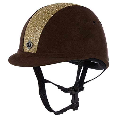 Charles Owen Sparkly YR8 Riding Hat 55cm Brown and Gold