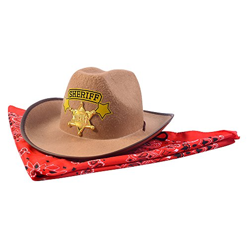 Funny Party Hats Sheriff Costume Hat w/ Badge & Bandanna - Costume Accessory