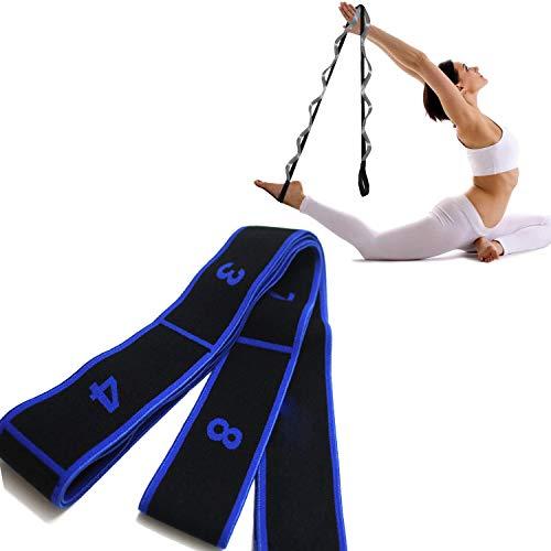 Comius Sharp Correa de Yoga Mejorada Correa de Estiramiento Banda de Estiramiento de Ejercicio de múltiples bucles para Fisioterapia, Fascitis Plantar, Pilates, Danza y Gimnasia (Blue)