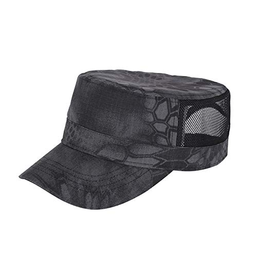Sombrero de Camuflaje para Tablero Ligero, Gorra Plana de Malla Transpirable Fina de Verano para Hombres, Circunferencia de la Cabeza Grande, Gorra de Pico de Secado rpido, Gorra Militar para el Sol