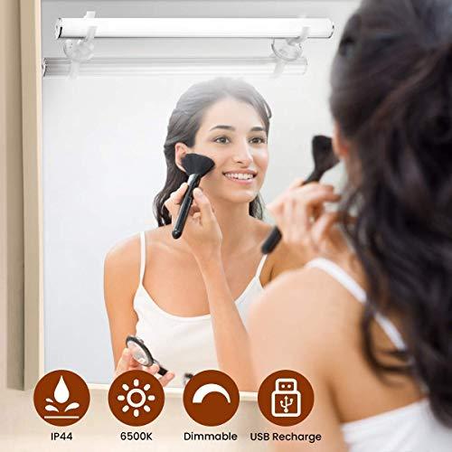 Elfeland Spiegelleuchte Spiegellampe Mirror Light Schminkleuchte Schminklicht 6500K 5W Dimmbar Badlampe Badleuchte Schrankleuchte für Badezimmer Spiegel Schminktisch Beleuchtung USB wiederaufladbar