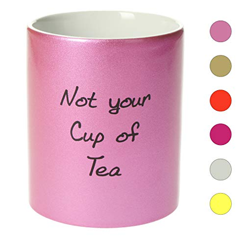 Personalisierte Tasse mit Namen | 0,3 l Farbige Kaffeetasse Teetasse mit eigenem Text zum selbst beschriften Geschenkidee für jeden Anlass (Metallic Rosa)