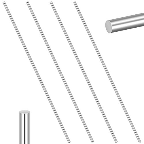 Favordrory 4 Pieces 304 Stainless Steel 6mm x 356mm Model Straight Metal Round Shaft Rods, Lathe Bar Stock for Toy Car Helicopter Airplane