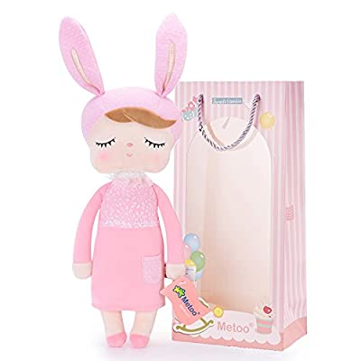 Plush Baby Bunny Doll Girl Gifts Soft First Dolls Easter Angela Girls Toy New Pink 13 Inches + Gift Bag