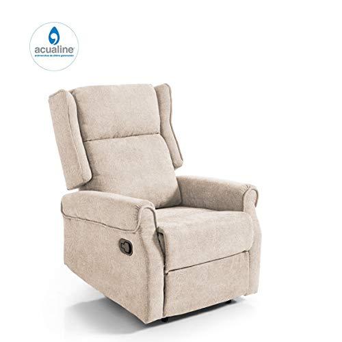 Home Heavenly- Butaca Relax British, tapizado aquaclean, Tela Antimanchas Gama Alta, sillón orejero reclinable con reposapies Marron chocholate, Color Beige