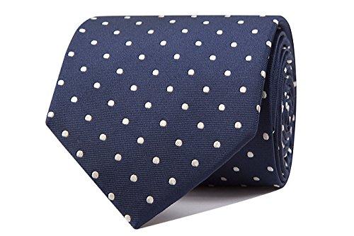 Sologemelos - Cravate Pois - Bleu Blanc 100% soie naturelle - Hommes - Taille Unique - Confection artesanale Made In Italy