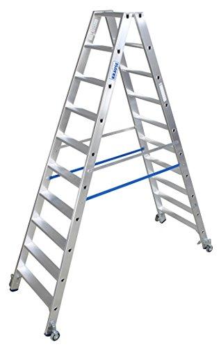 KRAUSE  lde876Stehleiter mit Rollen, 2x 10Leiter, 2.35m Höhe Leiter Trittstufe, 3.9M Höhe