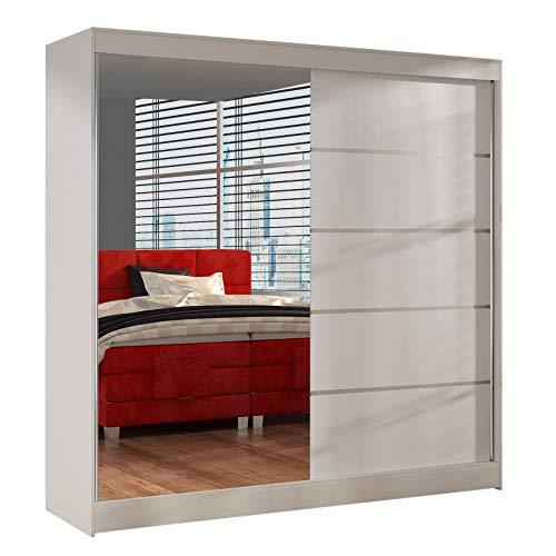 Schwebetürenschrank Basti III 200 cm mit Spiegel - Kleiderschrank, Schiebetürenschrank mit Kleiderstange und Einlegeboden, Schlafzimmerschrank, Schiebetüren, 200x215x58 cm (Weiß)