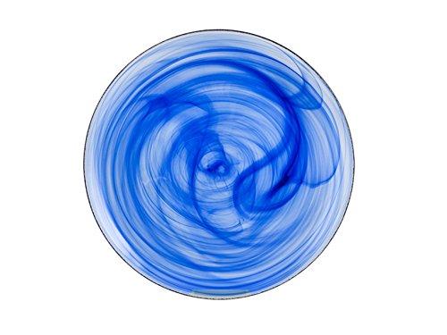 H&H Alabastro Set 6 Piatti Piani, Vetro, 27.5 cm, Blu Cobalto, 28x28x2 cm, 6 unità