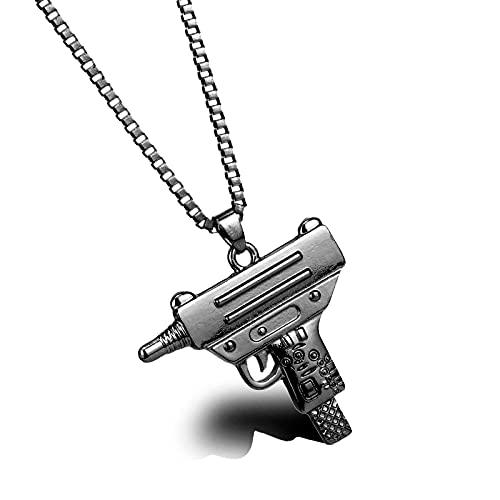 Hip HopJoyería Collar colgante de acero inoxidable Arma Collar de cristal Colar para Unisex I