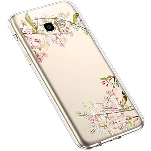 Uposao Compatibile con Samsung Galaxy A3 2017 Luminoso Fiore Floreale Modello Design Molle TPU Gel Silicone Protettivo Skin Custodia Shell Case Cover per Ragazza,Ramo di pesca