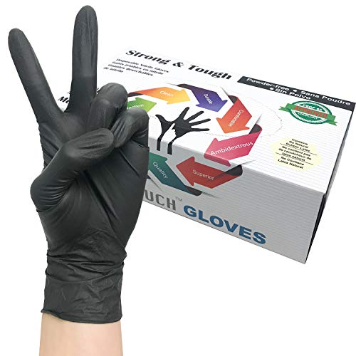 Heavy Duty Nitrile Gloves, Infi-Touch Strong & Tough, High Chemical Resistant, Disposable Gloves, Powder-Free, Non Sterile, 100 Gloves (Large)