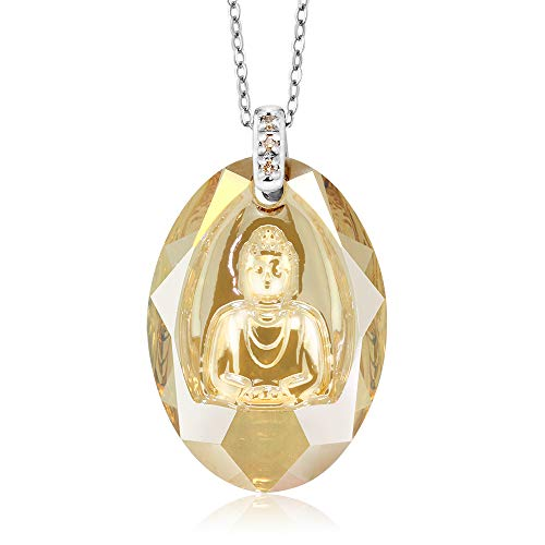 Silver Golden Shadow Buddha Pendant with Diamonds Made with Swarovski Crystals