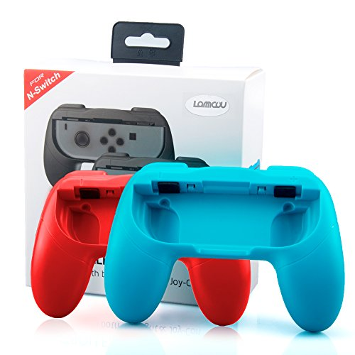 NS Switch Joy-Con Grips Lammcou Joycon Poignées Manette Switch pour Mario Kart 8,Super Mario Odyssey,Fire Emblem Warriors,Pokken Tournament DX Pokemon Minecraft Switch Jeux(2-Pack,Rouge,Bleu)