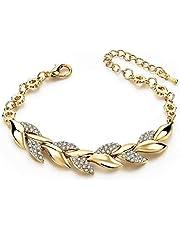 ADMOS Mode Gouden Gevlochten Bladarmband Luxe Kristallen Handketting Legering Bruidsketting Armband Cadeau Gouden Bladarmband voor Dames Meisje Bruiloft Valentijn