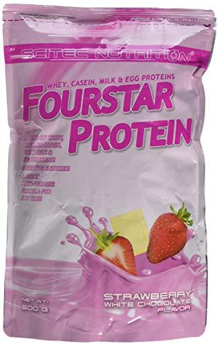 Scitec Nutrition Four Star Whey, Casein, Milk and Egg Protein Powder - 500g, Strawberry White Chocolate
