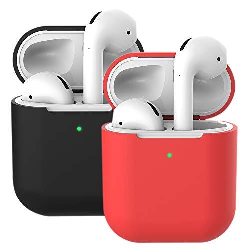 2X Funda Silicona Compatible con AirPods 2 & 1, Molylove Fundas Protectora de Silicona para AirPods, [LED Frontal Visible][Funciona con Carga inalámbrica] (AirPods 2, Rojo+ Negro)