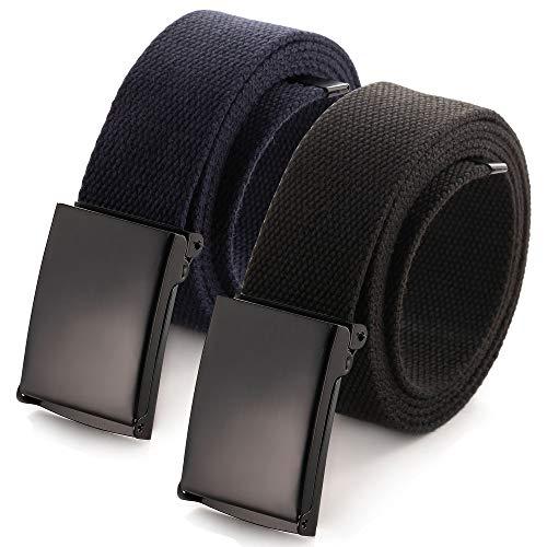Cinturón de tela de hasta 132 cm con hebilla militar de color negro sólido (16 opciones de color y paquete combinado). 2 Pack Negro/Azul Marino