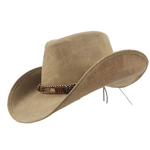 Sandy Cowper Neue Marke Leder Western Cowboy hüte männer Frauen Klassische Vintage Visier Hut Reise Leistung Cowgirl Cap Papa Hut (Farbe : Natürlich, Größe : 57-59)