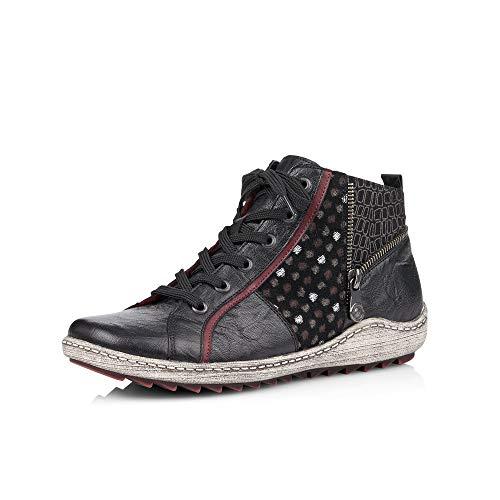 Remonte Damen Stiefeletten R1494, Frauen Schnürstiefelette, Boot halb-Stiefel Damen,schwarz,45 EU / 10.5 UK