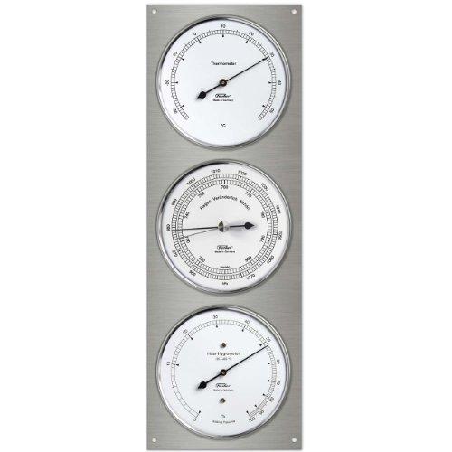 Fischer 829–01–Estación meteorológica de Acero Inoxidable, termómetro de Barómetro de Pelo auténtico higrómetro, 430x 150mm