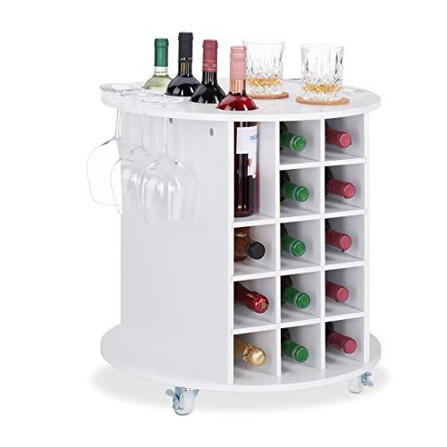 Relaxdays Mobile Portabottiglie Vino con Ruote Piroettanti, 6 Portabicchieri, Scaffale per 17 Bottiglie, Rotondo, HxD: 56x54 cm, Bianco