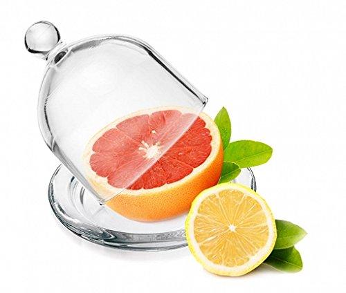 Glazen kap 12,5 cm glazen stolp met bord citroenstolp Glasdom Muffinglok helder