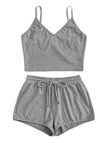 SweatyRocks Women's Suit Two Piece Outfits Sleeveless Crop Cami Top and Shorts Set Grey#2 Small