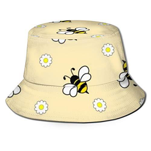 Wonderful Design Hard Working Bees Aesthetic Reversible Summer Sun Bucket Hat Outdoor Cap Travel Beach Fishing Golf Men Women Teen Black