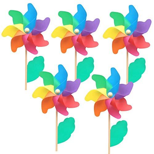 Bascar Windspiel, Windrad Set, UV-beständig und wetterfest Gartenstecker Regenbogen, für Kinder, Windspiel Blume, Balkon, Terrasse, bunt (5PC, 18 x 48 cm)